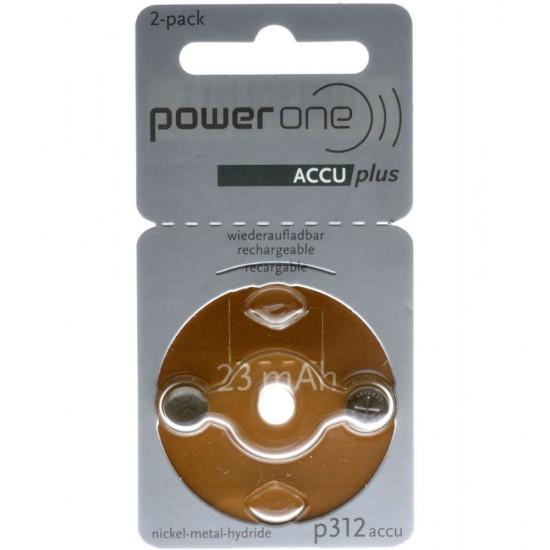 Piles rechargeables PowerOne p312 ACCU plus - paquet de 2 batter