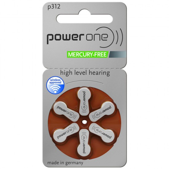 Piles auditives POWER ONE 312 - 1 plaquette